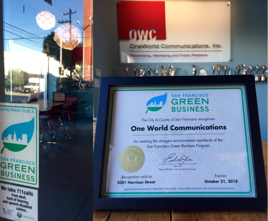 One World Communications certified a Green Business - well done!